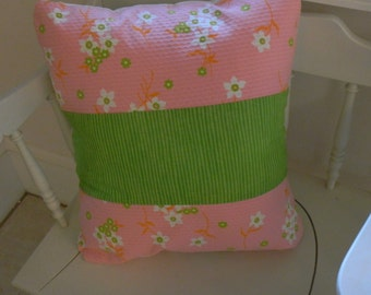 16 inch pillow cover   pink and lime green