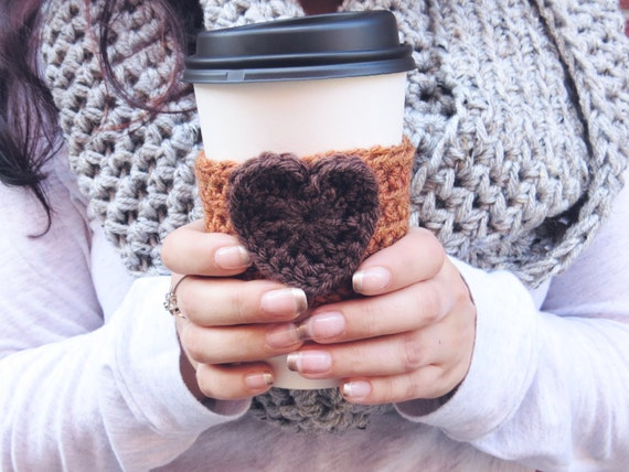 Pumpkin Spice Latte Cozy. Crochet Coffee Cup Cozy. Heart Coffee Cup ...