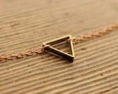 """SMALL TRIANGLE // Raw Brass Geometric 30"""" Necklace"""