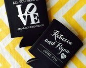 Wedding Can Coolers with Philadelphia LOVE symbol, Philly wedding can coolies, All you need is LOVE and a cold beverage holder
