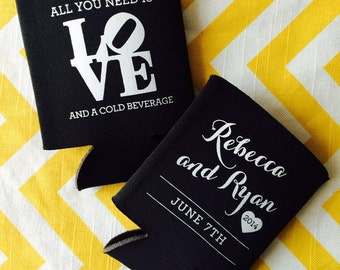 Wedding Can Coolers with Philadelphia LOVE symbol, Philly wedding can coolies, All you need is LOVE and a cold beverage wed favor (300 qty)