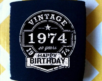 Beer Label Happy Birthday can coolers, custom bday party favors, custom adult beverage holders, double sided can coolies