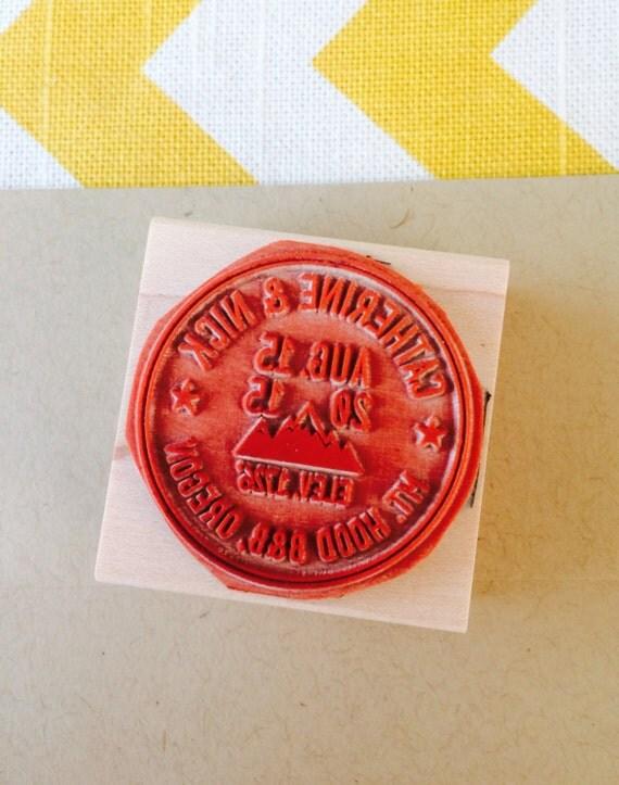 Mountain Address Stamp Outdoor Wedding Stamp Destination