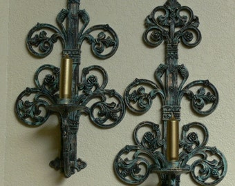 Homco - 4776 - Large Candle Holders - Painted - Gold and Patina Green -  FS-423