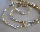 Dressed to Frill - Citrine & Golden Yellow Jade Gemstone Waistbeads with Golden Freshwater Pearls  - Single strand gemstone waistbeads