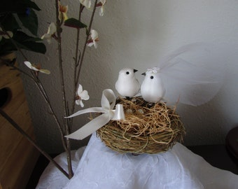 Wedding Cake Topper-Birds and  Nest- Bride and Grooms' Cake style # BC2025