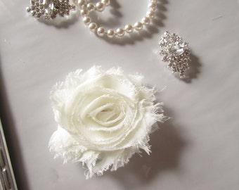 "ON SALE Coral Hair Flower -  Flower Clip - 2 1/2"" Frayed Chiffon Flower - Shabby Chic Hair Flower - Hair Clip or Brooch"