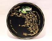 FLORIDA SERVING TRAY - Round, black souvenir tin tray with state map, cities, landmarks, and gold border