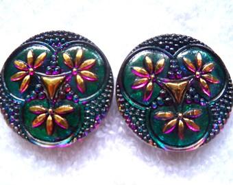 Czech Glass Buttons 2 pcs  GORGEOUS  XL   32mm        IVA 111