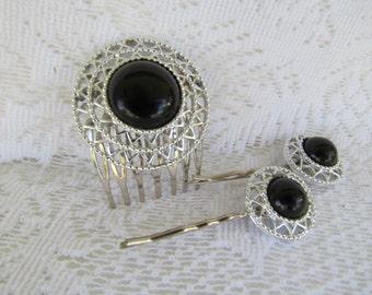 Vintage Bridal Hair Comb Black Hair Comb Art Deco Hair Piece Silver Hair Pins Bridal Hair Piece Wedding Hair Accessory Bridal Hair Comb Pins