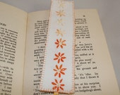 Embroidered Linen Bookmark - Orange Daisies from recycled table linen