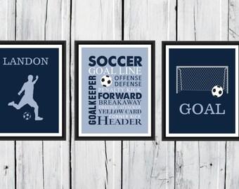 Attirant Soccer Wall Art   3 Piece Set   Goal   Soccer Player Silhouette   Soccer  Word