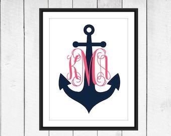 Monogram Anchor Print -  Dorm Decor - Nautical Nursery Print