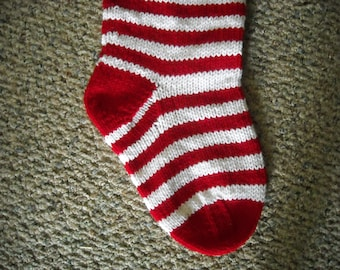 Personalized Christmas Stocking - 24 Inches Long - Red and White - Narrow Striped - Hand Knit - Made to order