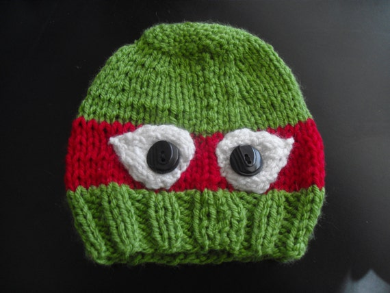 Knitting Pattern Turtle Hat : Knitted Teenage Mutant Ninja Turtle Hat Infant size