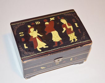 Black Lacquered Vintage Jewelry Box