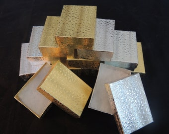 """Lot of 20 Silver and Gold Cotton Filled Jewelry Boxes, Retail Presentation boxes, Gift boxes, favor boxes, 3.25"""" X 2.25"""" x1"""