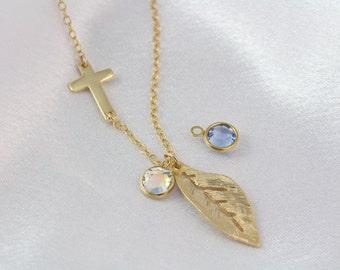 Gold leaf necklace, Gold Sideways Cross Necklace . Gold Side Cross with Birthstone- Horizontal Cross . Birthstone Jewelry. Cross
