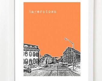 Hagerstown Skyline Art Print - City Skyline Series Poster - Hagerstown Maryland
