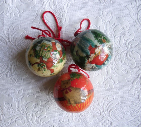 Where To Buy Christmas Decorations London: Vintage Christmas Decoupage Ornaments 3 Balls By