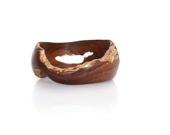 Brown and Gold Wood Bangle – Delicately Golden