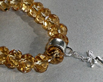 Charm Bracelet, Golden Topaz, Faceted Crystal Bead Stretchy Charm Bracelet for Clip-on Style Charms, November Birthdays, Stacking, Layering