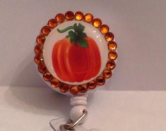 Orange Pumpkin Badge Holder-Pumpkin ID Holder-Pumpkin Retractable Badge-Pumpkin Lanyard-Pumpkin Badge Reel-Pumpkin ID badge reel-Pumpkin