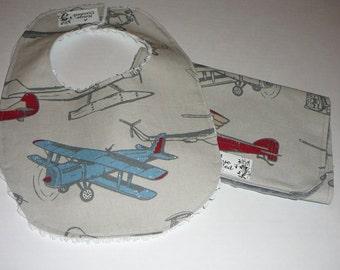 Vintage Airplane Bib and Burpie Set