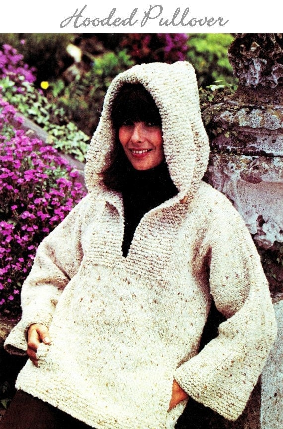 Knitting Patterns For Hooded Sweaters : Knit Hooded Sweater PDF Pattern INSTANT DOWNLOAD Knit