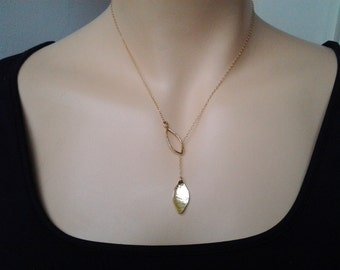 Lariat Leaf Necklace Leaves Necklace Lariat silver or Gold Metalwork gift for her necklace lariat necklaces, woodland leaf jewelry