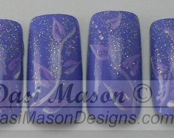Lavender Vines and Leaves Instant Acrylic Nail Set