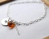Stamped Initial Bracelet, Stamped Swarovski Heart Bracelet, Simple Sterling Silver Bracelet, Birthstone Bracelet