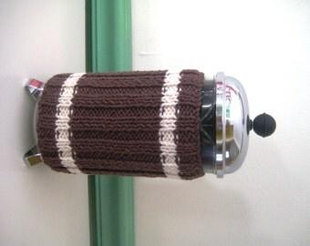 French Press Coffee Cozy, Brown Sweater Stripes