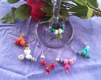 Wine Charms, Colored Howlite skulls, six piece set