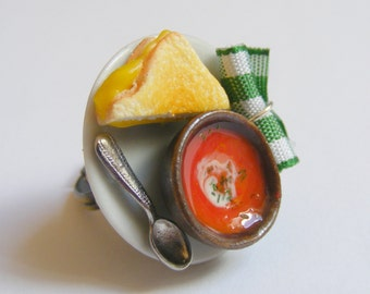 Food Jewelry Grilled Cheese and Tomato Soup Ring, Grilled cheese Charm, Soup Charm, Miniature Food Mini Food Jewellery Dollhouse Food Kawaii