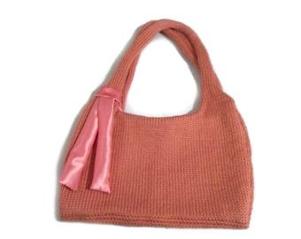 Knit Peach Purse, Handknit Handbag, Ready To Ship