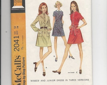 Vintage Sewing Pattern McCalls 2041 for Dress, Sz 14, 1960s