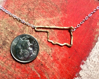 Oklahoma state necklace, Hammered in Gold and Sterling Silver wire Oklahoma outline state necklace,
