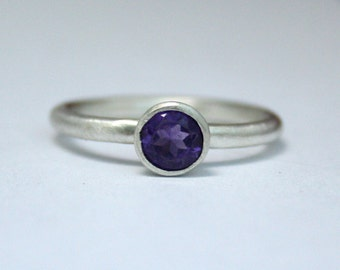 Amethyst Silver Ring, Stacking Ring, February Birthstone, Gemstone Ring, Eco Friendly, Ethical, Ready to Ship UK Size L