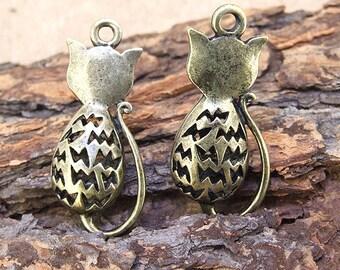 2pcs Charm Antique Bronze 3D Lucky Cat  Pendant Link  Fit your handmade jewelry necklace Connectors 35x 15mm  AG