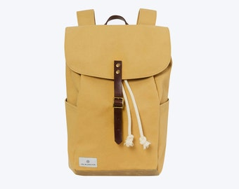 "No. 4 - Canvas and Waxed Backpack, Canvas Backpack, Yellow Waxed Canvas Backpack, 13"" or 15"" Laptop Backpack, Waxed Canvas Laptop Backpack"