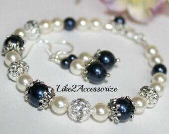 Bridesmaid Bracelet and Earrings, Bridal Jewelry, Bridal Accessories, Bridal Pearl Bracelet, Wedding Pearl Jewelry, Bridesmaid Accessories,