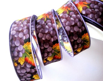 """Grapes Cotton Wired Ribbon, Purple, 1 3/8"""" inch wide, 1 yard, For Gift Packing, Wreaths, Center Pieces, Home Decor"""
