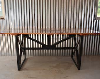 Industrial Style Riveted Steel and Reclaimed Wood Dining Table/ Desk.Loft Decor,Modern, Metal Salvaged Lumber Farm Table Vintage Look Rustic
