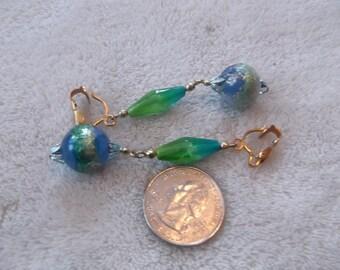 Vtg Clip On Earrings-Long Spring Green Lucite Bobble Dangles-C2011
