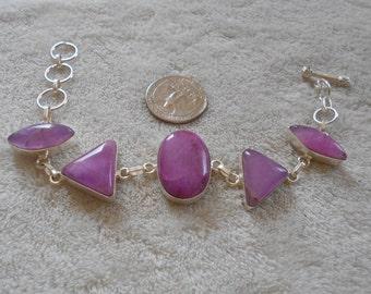 Handcrafted SS Bracelet-STUNNING Violet Jade