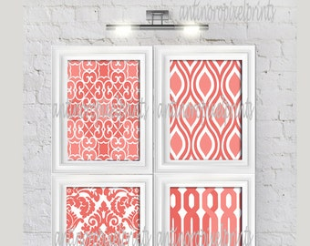 Coral White Damask  Prints, (4) 11 x 14 Prints, Custom Colors Sizes Available