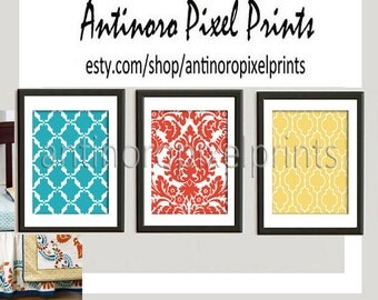 Surie Wall Art Prints Turquoise Orange Yellow -Set of (3 ) Prints - Custom Color Sizes Available (UNFRAMED)