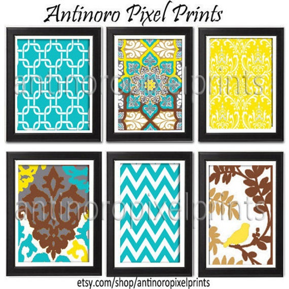items similar to digital wall art turquoise brown yellow. Black Bedroom Furniture Sets. Home Design Ideas