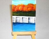 Acrylic Painting ACEO Autumn Lake, OOAK Art Original On Linen Canvas Card